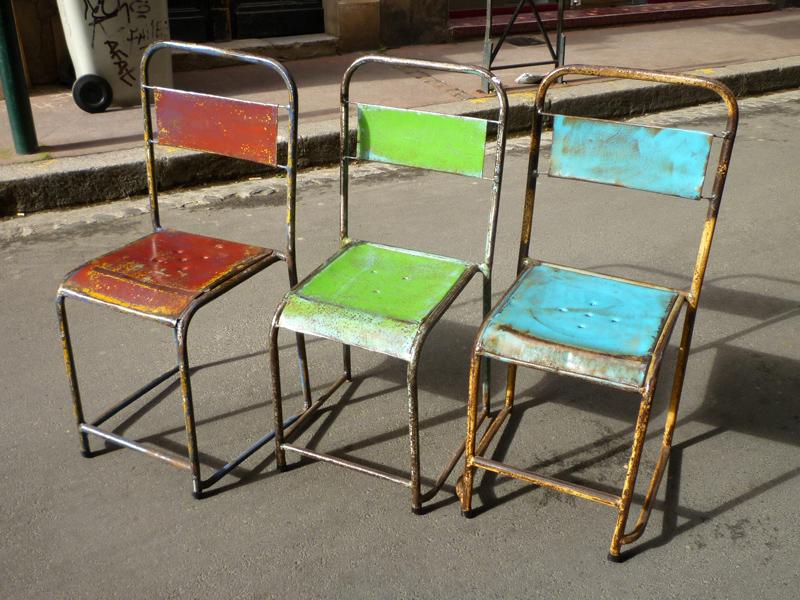 Chaise et tabouret de bar vintage en métal